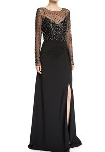 Badgley Mischka Illusion Long-Sleeve Crystal-T